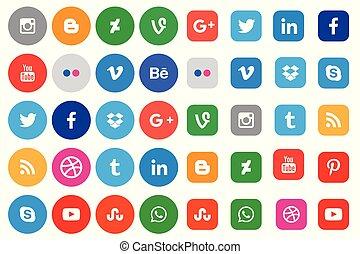 media, sociaal, verzameling, pictogram