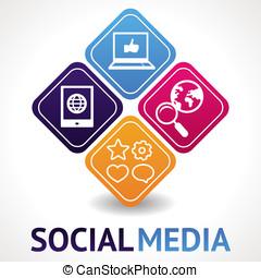 media, social, begrepp, vektor