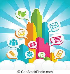 media, social, färgrik, stad