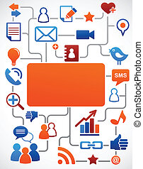 media, social, nätverk, bakgrund, ikonen