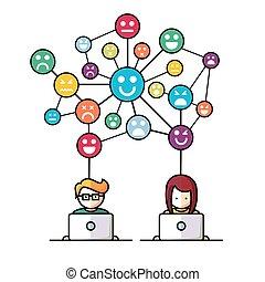 media,  social, nätverk, folk