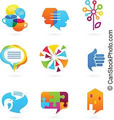 media, social, nätverk, kollektion, ikonen