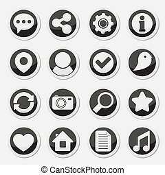 Media social round icons