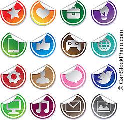 media, sociale, adesivi, icone