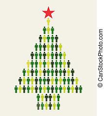 media, sociale, albero, natale, persone