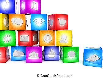 media, sociale, colorito, icone