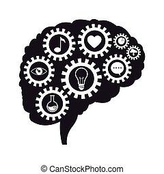 media, sociale, comunicazione, ingranaggi, cervello