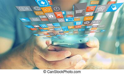 media, sociale, concept.