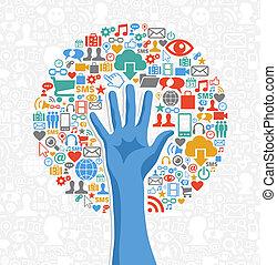 media, sociale, diversità, albero, mano