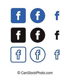 media, sociale, facebook, icone