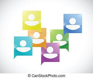 media, sociale, illustrazione, comunicazione