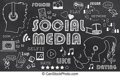 media, sociale, lavagna