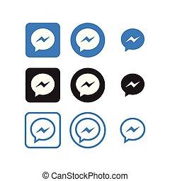media, sociale, messaggero, icone