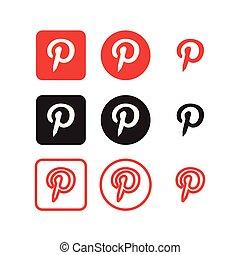 media, sociale, pinterest, icone
