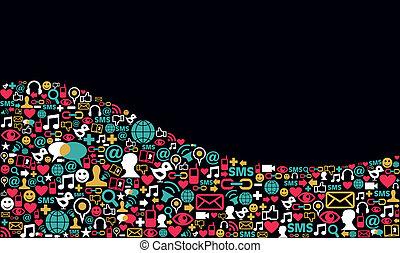 media, sociale, rete, fondo, icona