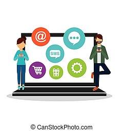 media, sociale, rete, icone