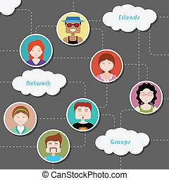 media, sociale, rete, nuvola, calcolare