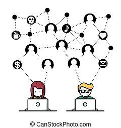 media, sociale, rete, persone