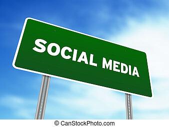 media, sociale, segno strada principale