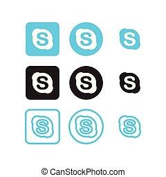 media, sociale, skype, icone