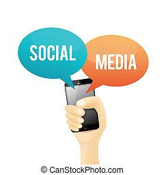 media, sociale, telefono