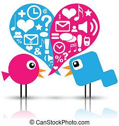 media, sociale, uccelli, icone