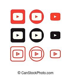 media, sociale, youtube, icone