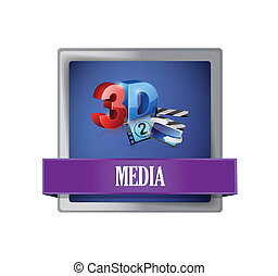media square blue button illustration