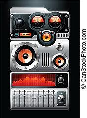 media, stereo, musica, giocatore mp3