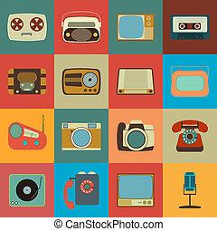 media, stile, retro, icone