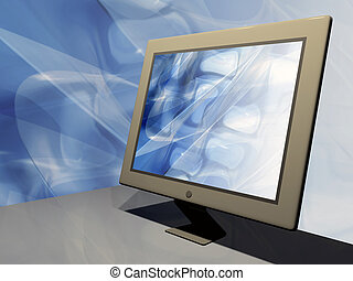 Media - Lcd monitor with abstract wallpaper.