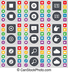 Media stop, Disk, Contact, Plus, Chat bubble, Hand, Gear, Magnifying glass, Cloud icon symbol. A large set of flat, colored buttons for your design.