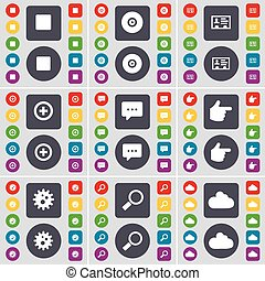 Media stop, Disk, Contact, Plus, Chat bubble, Hand, Gear, Magnifying glass, Cloud icon symbol. A large set of flat, colored buttons for your design. Vector