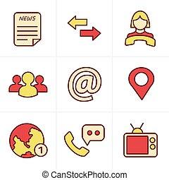 media, styl, ikony, komunikacja