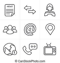 media, styl, komunikacja, kreska, ikony