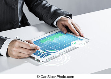 Media technologies for business as concept with woman working on