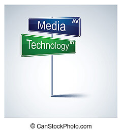 Media technology direction road sign. - .Vector direction...