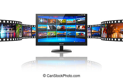 Media telecommunications and streaming video concept: widescreen TV display with streaming video gallery and filmstrip with color pictures isolated on white reflective background Design is my own and all text labels and numbers are fully fictional. All photos used here are my own from my own ...