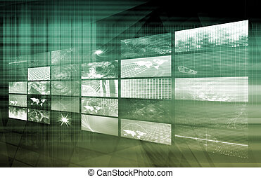 Media Telecommunications Concept with Video Wall Art