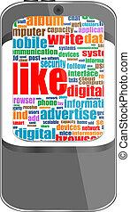 media, telefon, temat, wektor, towarzyski, mądry