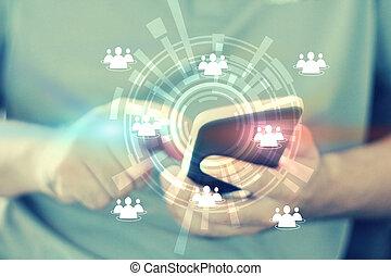 media, tocco, rete, sociale, mano, concetto