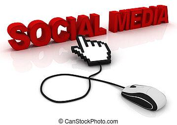 media, topo, computer, parola, sociale
