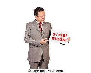 media, towarzyski, afisz