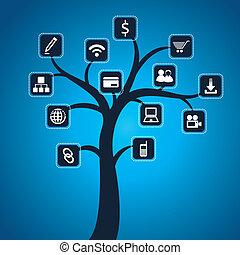 media, towarzyski, drzewo, ikona