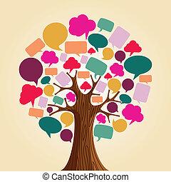 media, towarzyski, drzewo, sieć, komunikacja