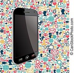 media, towarzyski, iphone, tło, ikona