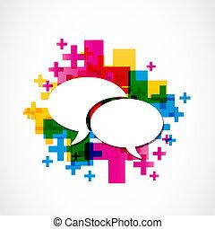media, towarzyski, mowa, grupa, dodatni
