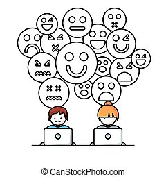 media, towarzyski, sieć, ludzie
