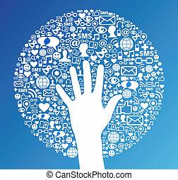media, towarzyski, sieć, powodzenie, ręka