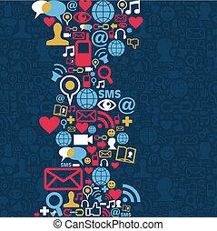media, towarzyski, sieć, tło, ikona
